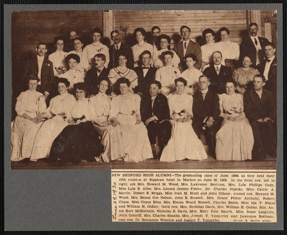 10th reunion of the New Bedford High School Class of 1898, Marion, MA