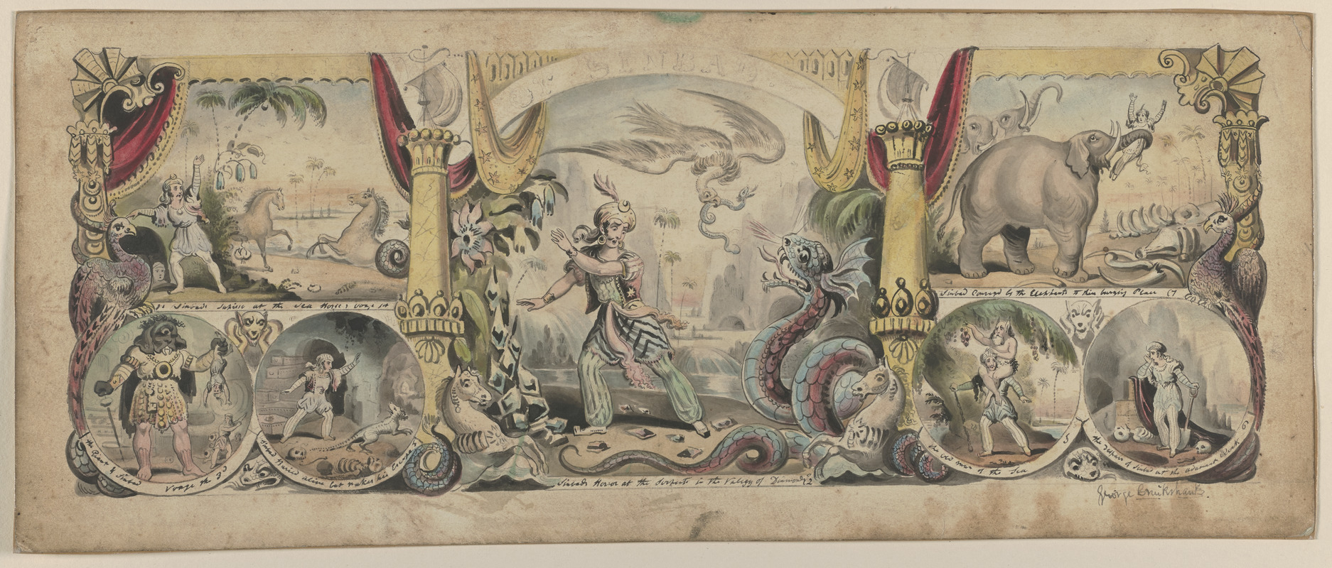 """Original watercolor drawing used as frontispiece of """"The Seven Voyages and Adventures of Sinbad the Sailor"""""""
