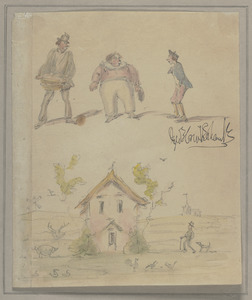 Untitled sketch with three figures (street vendor, fat boy and young man) at top and country cottage below