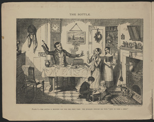 "Plate I. The bottle is brought out for the first time: the husband induces his wife ""just to take a drop"""