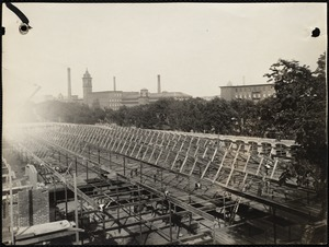 New worsted (weaving) mill, looking easterly from roof of yarn mill, showing roof framing