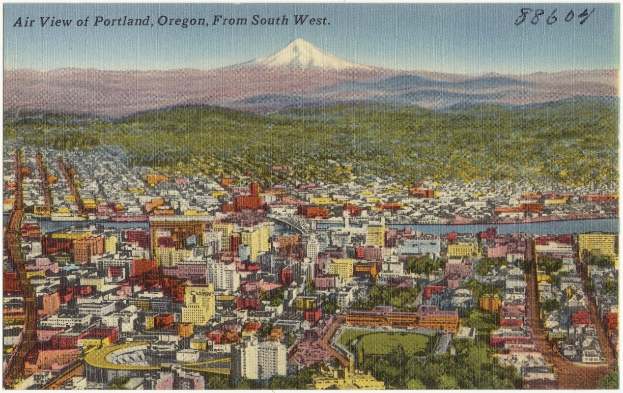Air view of Portland, Oregon, from south west.