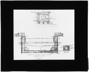 Distribution Department, Saugus River Siphon Box, elevation plan and sections (engineering plan), Mass., 1899