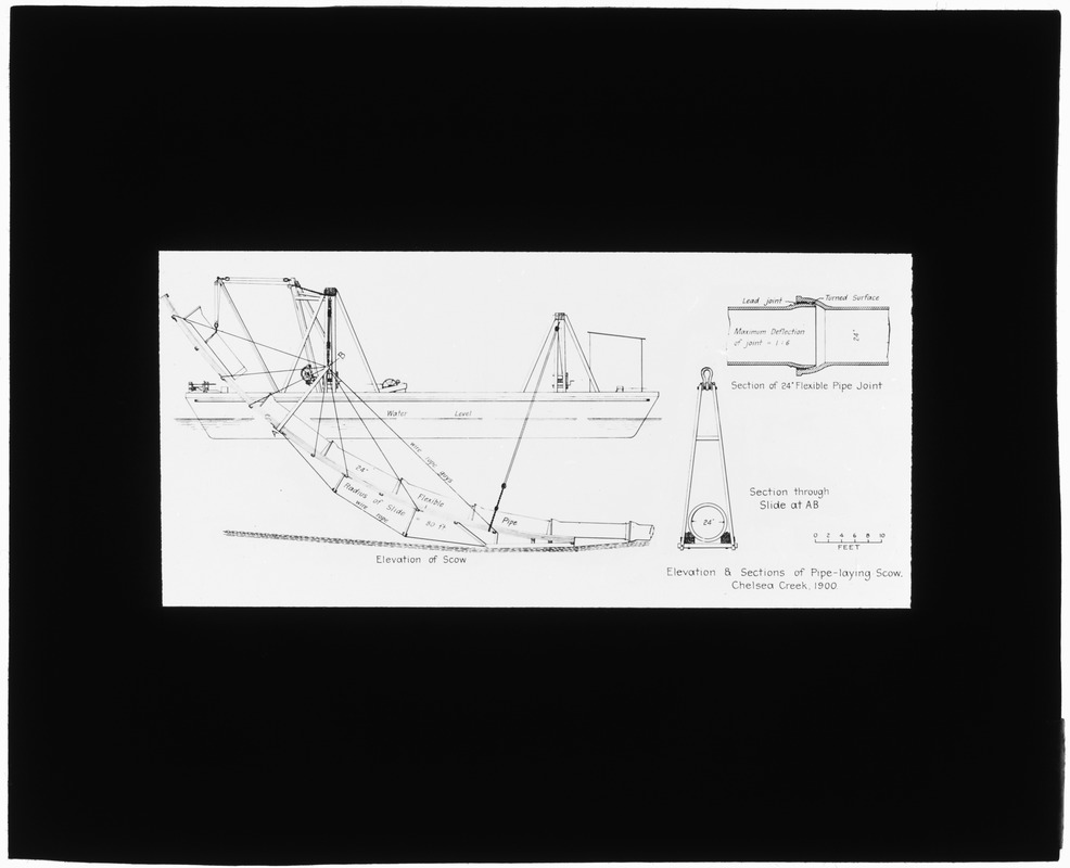 Distribution Department, Chelsea Creek, elevation plan and sections of pipe-laying scow (engineering plan), Mass., 1900