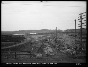 Wachusett Reservoir, South Dike, northerly from State Road, Boylston; Clinton, Mass., Apr. 2, 1904