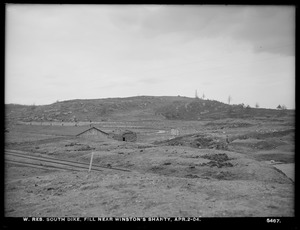 Wachusett Reservoir, South Dike, fill near Winston's Shanty, Boylston; Clinton, Mass., Apr. 2, 1904