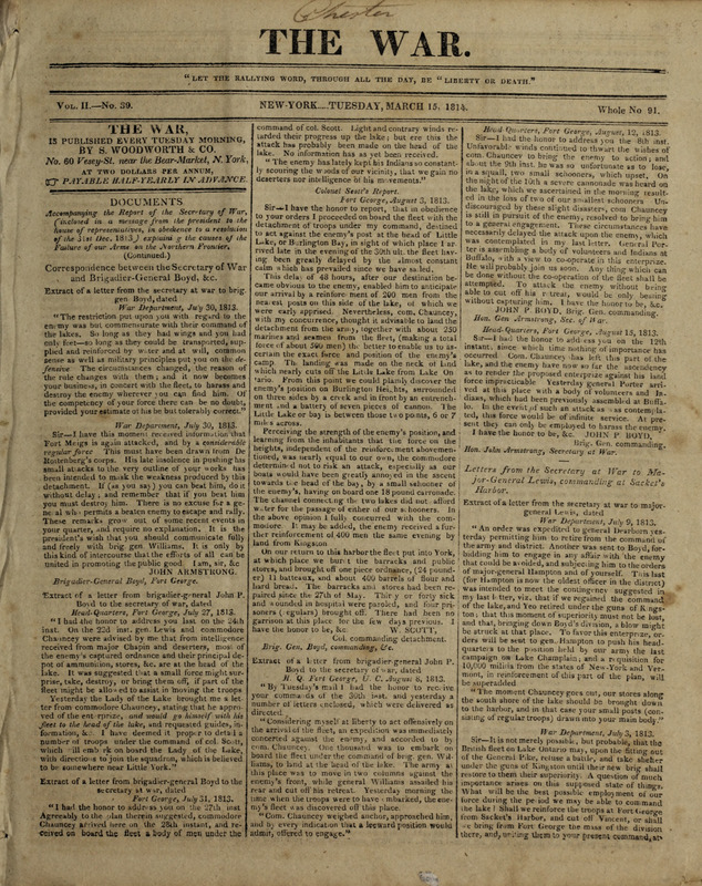 The War, March 15, 1814