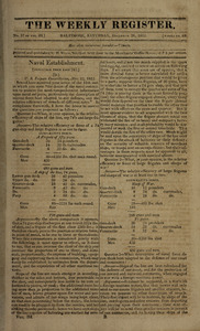 The Weekly Register, December 26, 1812