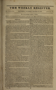 The Weekly Register, September 12, 1812