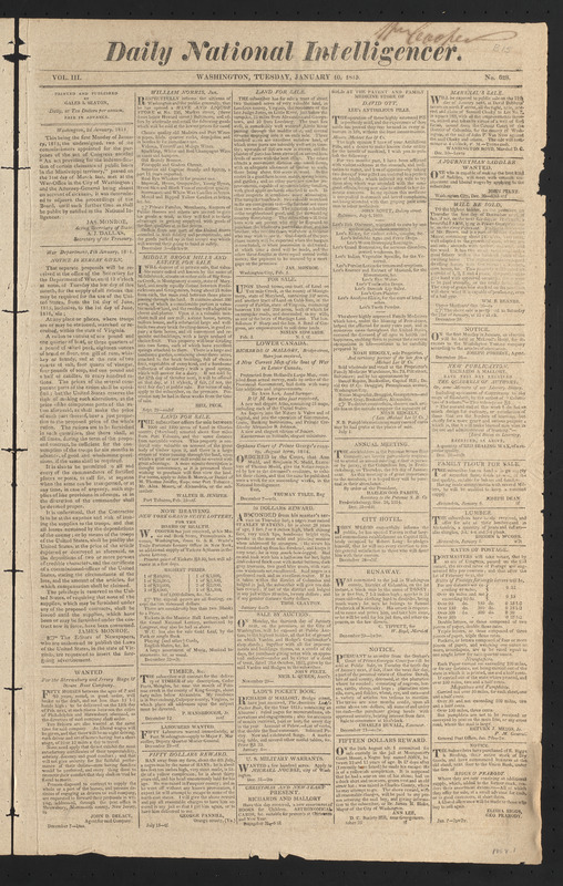 Daily National Intelligencer, January 10, 1815