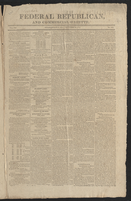 Federal Republican, and Commercial Gazette, October 16, 1812