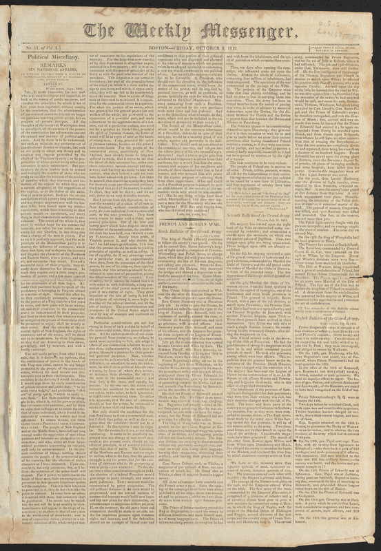 The Weekly Messenger, October 9, 1812