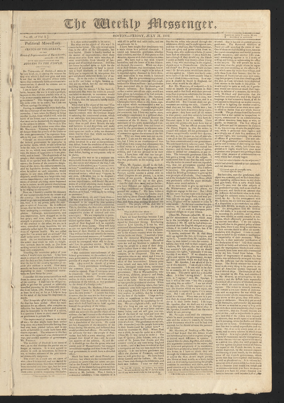 The Weekly Messenger, July 31, 1812