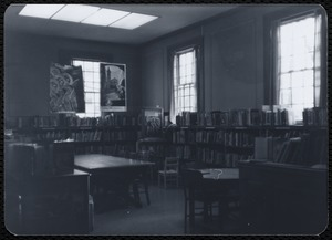 Newton Free Library branches & bookmobile. Newton, MA. Interior of unidentified library