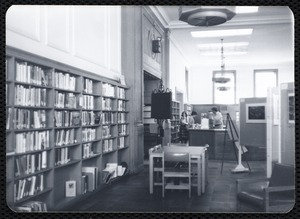 Main library, Junior Library, and branches. Newton, MA. Shelves
