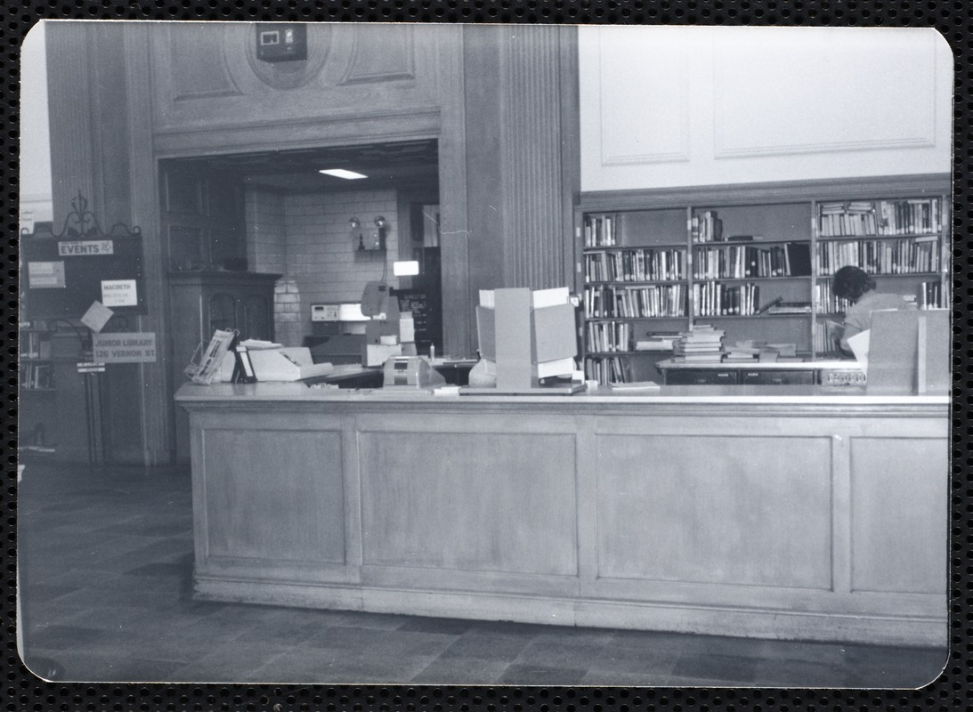 Main library, Junior Library, and branches. Newton, MA. Circulation desk