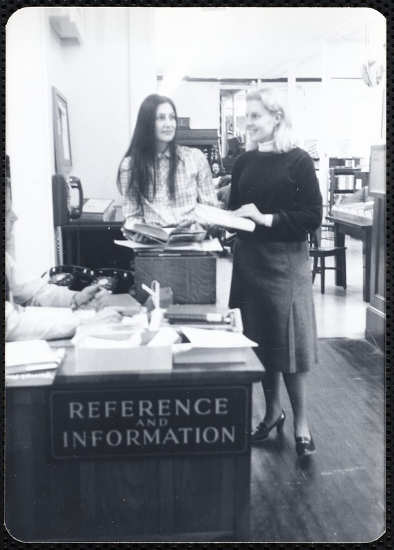 Main library, Junior Library, and branches. Newton, MA. Elinor Persky with book discussion leader, E. Teitel