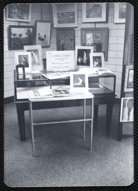 Main library, Junior Library, and branches. Newton, MA. Circulating art with display