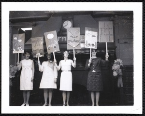 Newton Free Library, Newton, MA. Staff & trustees. 4 women with signs, Chaffin