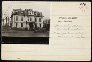 Protests & parades. Newton, MA. Police station (was Peirce School)