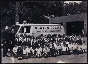 Protests & parades. Newton, MA. Class from Our Lady's Church with police department