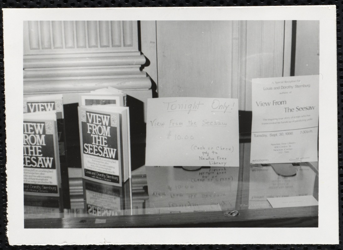"""Newton Free Library, Newton, MA. Programs. Display of """"View From the Seesaw"""""""