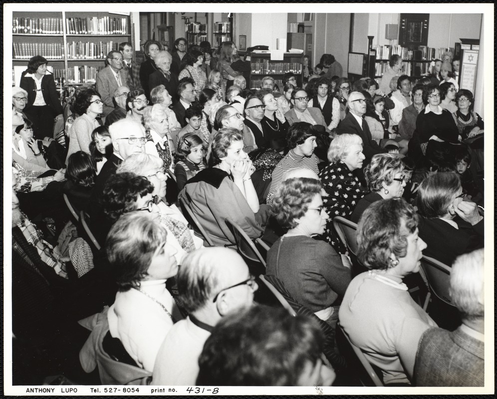 Newton Free Library, Newton, MA. Programs. Event: Jewish people of Newton - 3/16/1975. Audience at event