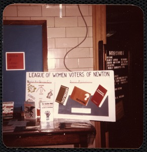 Newton Free Library, Newton, MA. Programs. League of Women Voters display