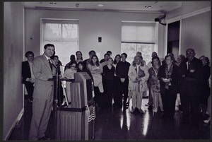 Newton Free Library, Newton, MA. Communications & Programs Office. 10th Anniversary. Mayor Cohen in auditorium