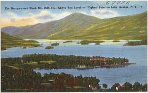The Narrows and Black Mt., 2665 feet above sea level -- highest point on Lake George, N. Y.