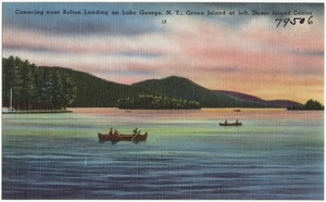 Canoeing near Bolton Landing on Lake George, N. Y., Green Island at left, Dome Island center