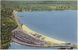 Aerial view bathing beach, Lake George, New York