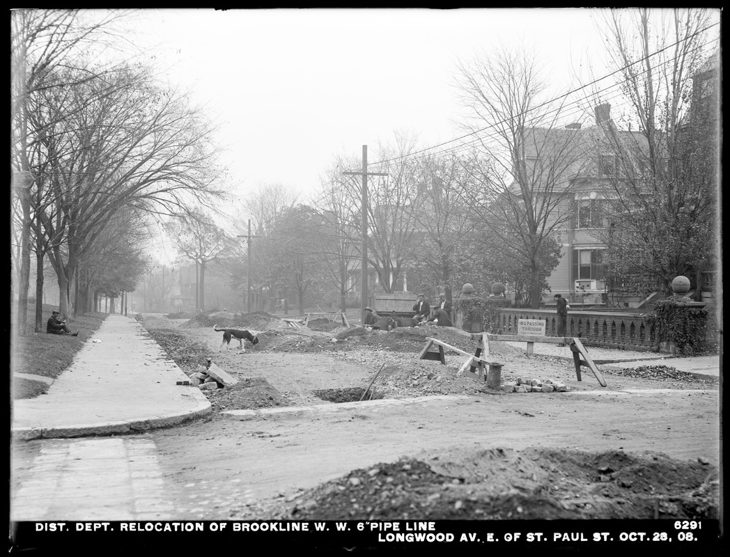 Distribution Department, Low Service Pipe Lines, 48-inch pipe, relocation of Brookline Water Works 6-inch pipe line in Longwood Avenue east of St. Paul Street, Brookline, Mass., Oct. 28, 1908