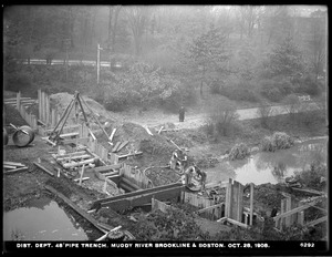 Distribution Department, Low Service Pipe Lines, 48-inch pipe, trench, Muddy River across the Riverway, Boston; Brookline, Mass., Oct. 28, 1908