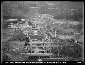 Distribution Department, Low Service Pipe Lines, 48-inch pipe, trench, Muddy River, Boston; Brookline, Mass., Oct. 28, 1908