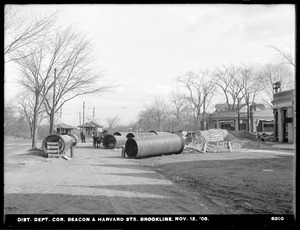 Distribution Department, Low Service Pipe Lines, 48-inch pipe, corner of Beacon and Harvard Streets, Brookline, Mass., Nov. 12, 1908