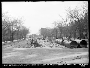 Distribution Department, Low Service Pipe Lines, 48-inch pipe, excavating trench, Beacon Street at Winchester Street, Brookline, Mass., Apr. 6, 1909