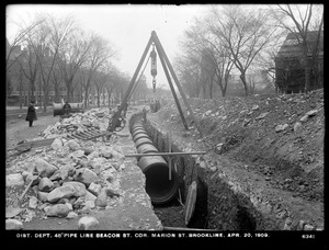 Distribution Department, Low Service Pipe Lines, 48-inch pipe, Beacon Street at corner of Marion Street, Brookline, Mass., Apr. 20, 1909