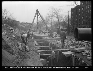 Distribution Department, Low Service Pipe Lines, 48-inch pipe, Beacon Street at corner of Winthrop Road, Brookline, Mass., Apr. 20, 1909