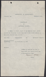 Sacco-Vanzetti Case Records, 1920-1928. Commonwealth v. Vanzetti (Bridgewater Trial). Indictment, Bill 8111: Carrying Revolver Unlawfully, 1920. Box 1, Folder 6, Harvard Law School Library, Historical & Special Collections
