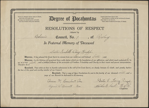 Degree of Pocahontas, resolutions of respect adopted by Baboosic council, No. 7, of Roxbury, in fraternal memory of deceased sister Isabelle Daisy Knapp