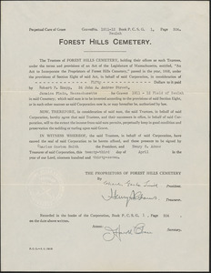 Agreement for perpetual care of grass by Forest Hills Cemetery for graves 1911-12 Beulah
