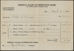 Adjustment statement from Jamaica Plain Co-Operative Bank for Robert F. Knapp, March 5, 1934