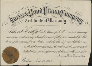 Certificate of warranty from Ivers & Pond Piano Company