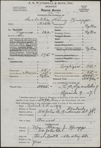 Estimate from J. S. Waterman & Sons, Inc. for funeral of Isabelle Daisy Knapp, April 9, 1937