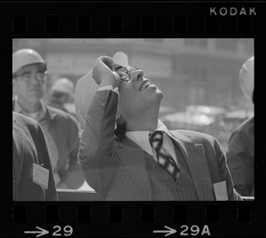 """I.M. Pei seen with hard hat at the """"topping off"""" of the new John Hancock Tower"""