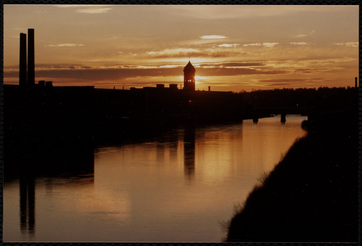 Ayer Mill clock tower at sunset