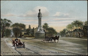 Arlington, Mass. Soldiers Monument. Junction Massachusetts Ave. and Broadway