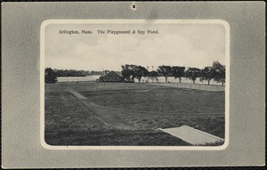 Arlington, Mass. The playground and Spy Pond