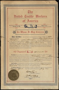 To whom it may concern this certifies that this charter has been granted to Local Union, No. 2631 Textile Council Federation Woolen & Worsted Workers of Philadelphia...